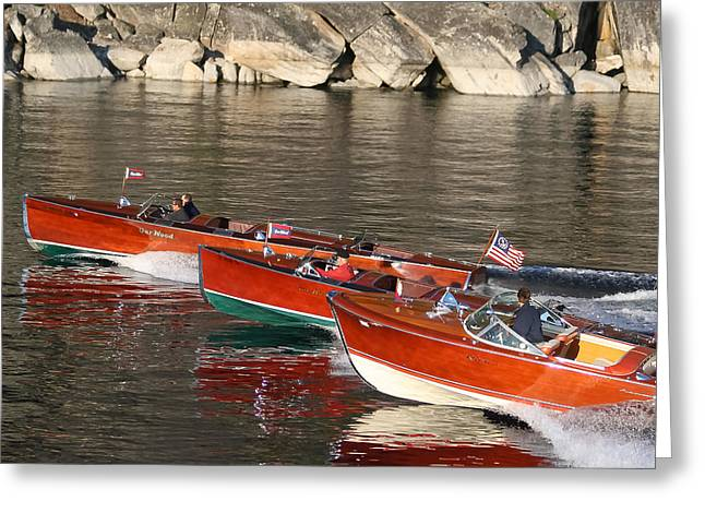 Mahogany Greeting Cards - Classic Boats on Lake Tahoe Greeting Card by Steven Lapkin