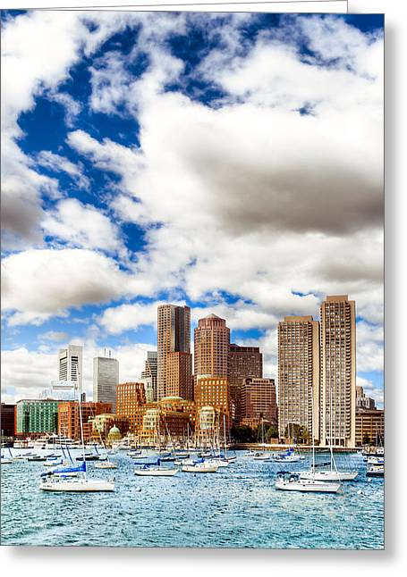 Classic Boston Skyline From The Water Greeting Card by Mark E Tisdale