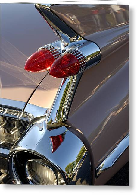Norman Pogson Greeting Cards - Classic 1960s Cadillac Fin Greeting Card by Norman Pogson