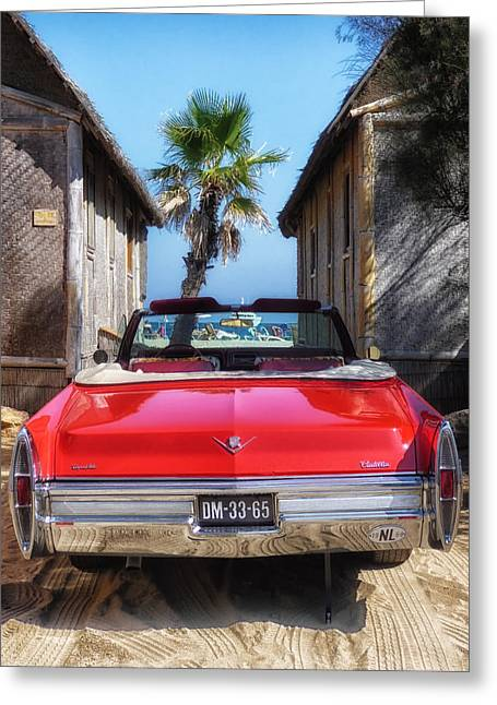 St.tropez Greeting Cards - Classic Cadillac in St Tropez  Greeting Card by Mountain Dreams