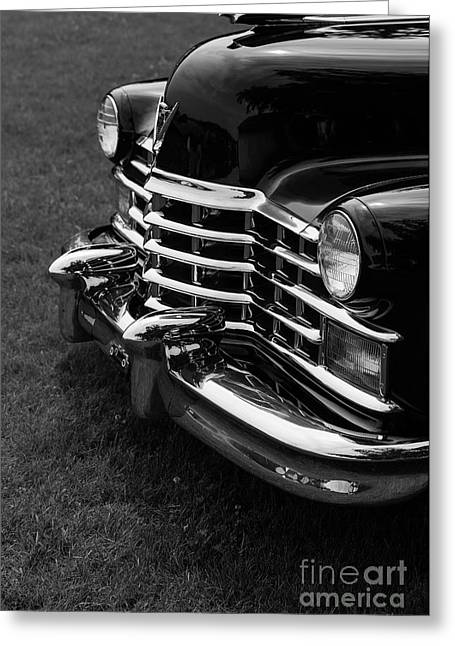 Caddy Greeting Cards - Classic Cadillac Sedan Black and White Greeting Card by Edward Fielding