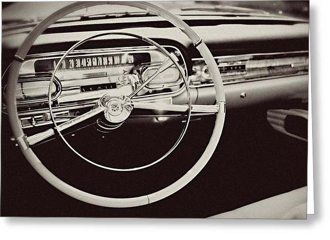 Mid Century Radio Greeting Cards - Classic Cadillac Steering Wheel and Dash Take the Wheel Greeting Card by Lisa Russo