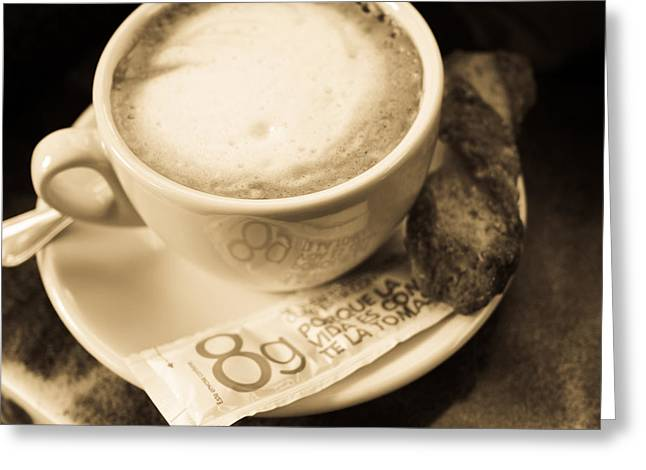 Extremadura Greeting Cards - Classic Cafe Con Leche cup in Spain Greeting Card by Calvin Hanson