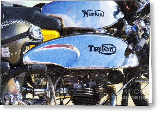 Coloured Pencil Greeting Cards - Classic Cafe Racers Greeting Card by Tim Gainey