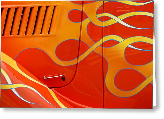 Orange Car Greeting Cards - Classic Car 3 Greeting Card by Art Block Collections