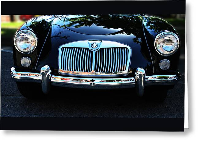 Cars Greeting Cards - Classic Car Art - Vintage MG Grill View Greeting Card by Lesa Fine