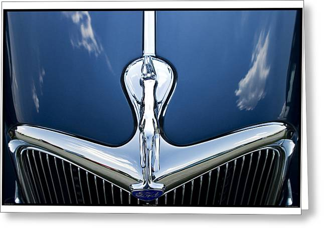 Metal Sheet Greeting Cards - Classic Car Blue - 09.20.08_501 Greeting Card by Paul Hasara