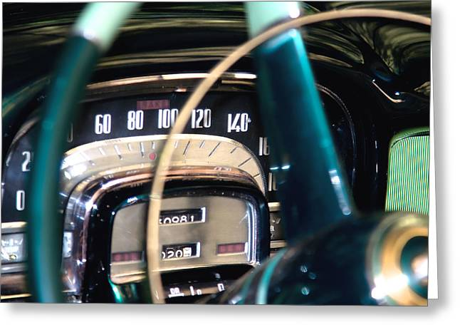 Sixties Style Automobile Greeting Cards - Classic car dashboard  Greeting Card by Modern Art Prints