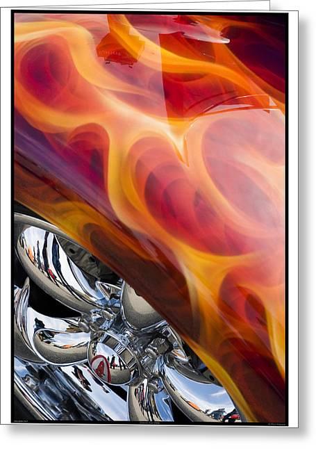 Metal Sheet Greeting Cards - Classic Car Flames - 09.19.09_347 Greeting Card by Paul Hasara