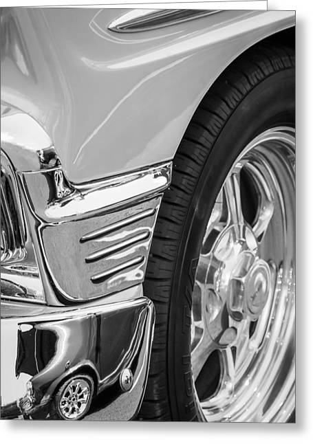 Classic Car Images Greeting Cards - Classic Car Reflections - Training Wheels -179bw Greeting Card by Jill Reger
