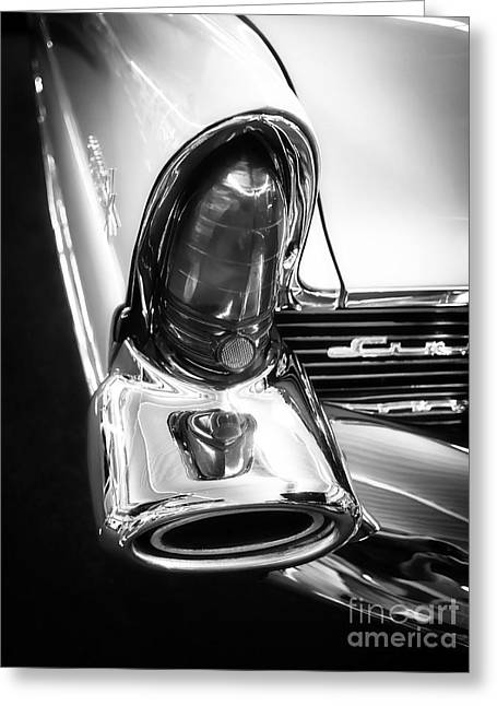 Timer Greeting Cards - Classic Car Tail Fin Greeting Card by Edward Fielding