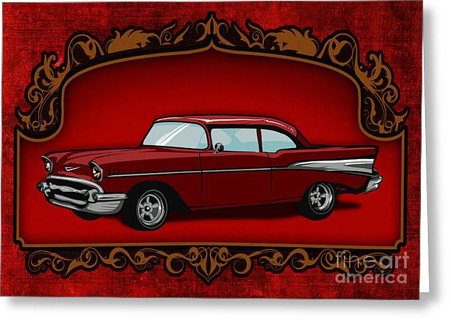 Rally Mixed Media Greeting Cards - Classic Cars 01 Greeting Card by Bedros Awak