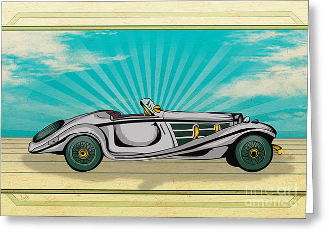 Mechanics Mixed Media Greeting Cards - Classic Cars 02 Greeting Card by Bedros Awak