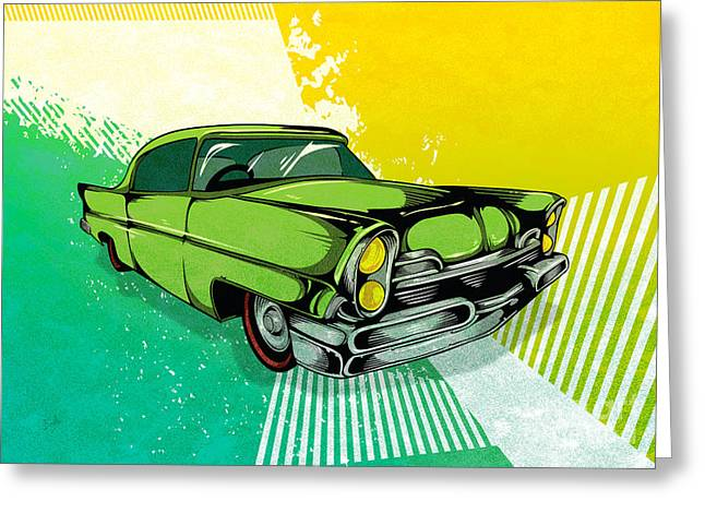 Speed Mixed Media Greeting Cards - Classic Cars 04 Greeting Card by Bedros Awak