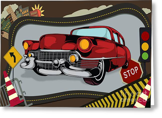 Rally Mixed Media Greeting Cards - Classic Cars 05 Greeting Card by Bedros Awak