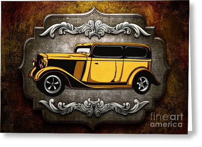 Rally Mixed Media Greeting Cards - Classic Cars 06 Greeting Card by Bedros Awak