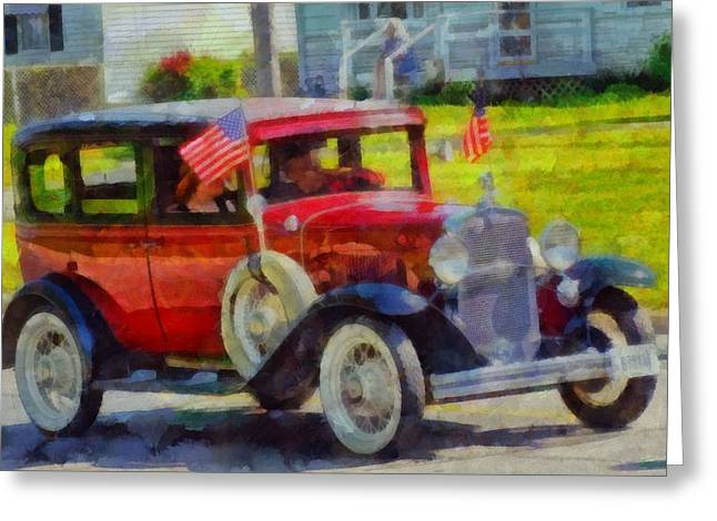 Flag Day Mixed Media Greeting Cards - Classic Cars American Tradition Greeting Card by Dan Sproul