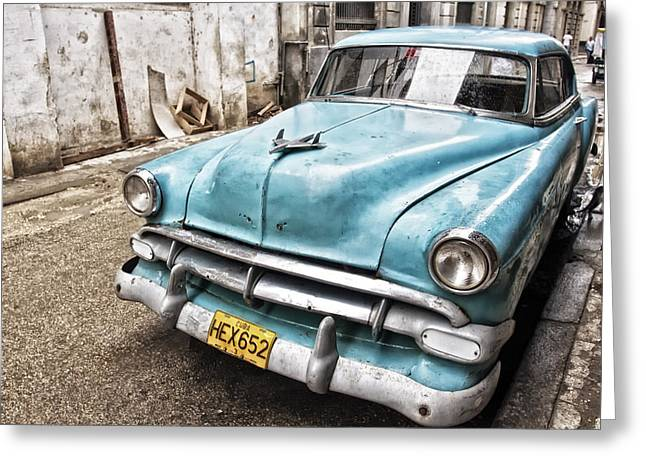 Gift Ideas For Him Greeting Cards - Classic Chevrolet Blue Greeting Card by Gigi Ebert