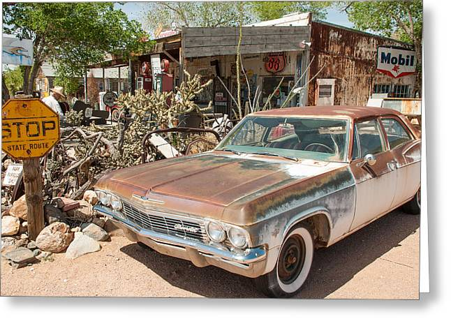 Geobob Greeting Cards - Classic Chevy at Route 66 General Store in Hackberry Springs Arizona Greeting Card by Robert Ford