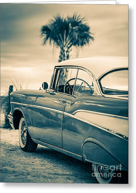 Fort Meyers Greeting Cards - Classic Chevy Bel Air 57 Greeting Card by Edward Fielding