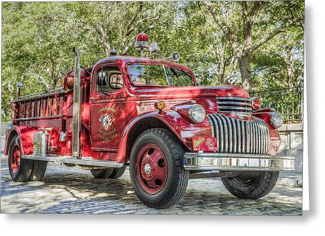 Response Greeting Cards - Classic Chevy Fire Truck  Greeting Card by Drew Castelhano