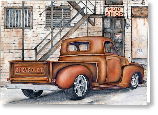Classic Pickup Paintings Greeting Cards - Classic Chevy PU Greeting Card by Diane Ferron