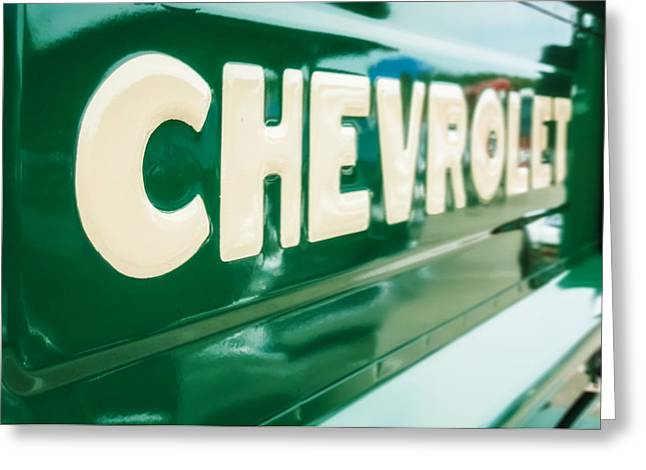 Chevy Pickup Truck Greeting Cards - Classic Chevy Truck Tailgate Greeting Card by Jon Woodhams