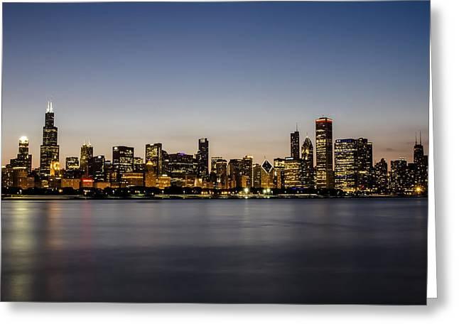 Lake Michgan Greeting Cards - Classic Chicago skyline at dusk Greeting Card by Sven Brogren