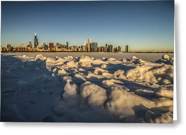 Lake Michgan Greeting Cards - Classic Chicago skyline view on cold winter morning Greeting Card by Sven Brogren
