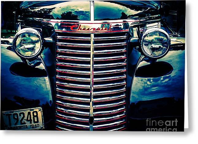 Old Truck Photography Greeting Cards - Classic Chrome Grill Greeting Card by Perry Webster