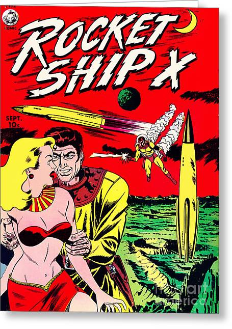 Comic Alien Greeting Cards - Classic Comic Book Cover - Rocket Ship X - 1225 Greeting Card by Wingsdomain Art and Photography