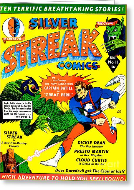 Classic Comic Book Cover - Silver Streak Comics Captain Battle - 0250 Greeting Card by Wingsdomain Art and Photography