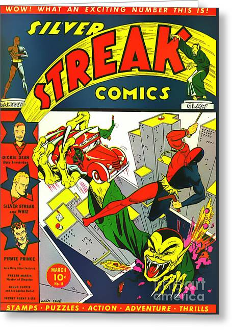 Classic Comic Book Cover - Silver Streak Comics Daredevil - 0320 Greeting Card by Wingsdomain Art and Photography