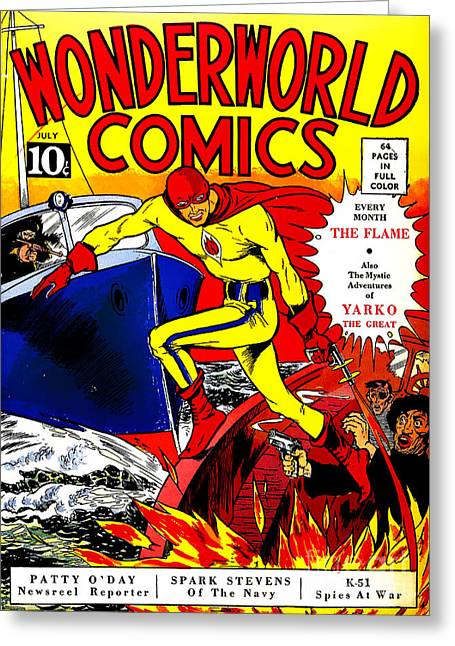 Book Cover Art Greeting Cards - Classic Comic Book Cover - Wonderworld Comics The Flame - 1028 Greeting Card by Wingsdomain Art and Photography