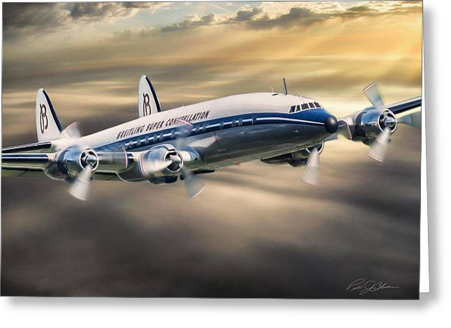 Lockheed Aircraft Greeting Cards - Classic Constellation Greeting Card by Peter Chilelli