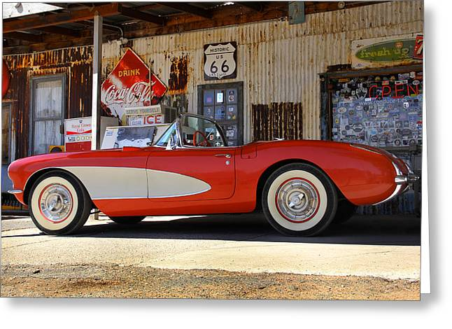 66 Greeting Cards - Classic Corvette on Route 66 Greeting Card by Mike McGlothlen