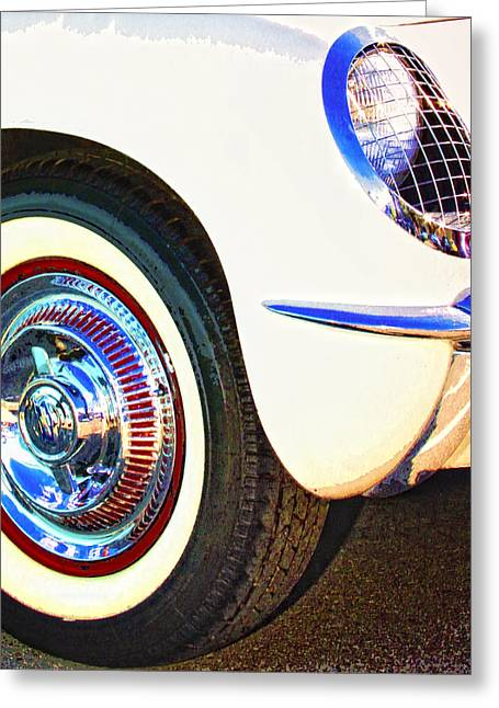 Featured Art Greeting Cards - CLASSIC CORVETTE Palm Springs Greeting Card by William Dey