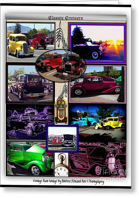 Print On Acrylic Greeting Cards - Classic Cruisers Greeting Card by Bobbee Rickard