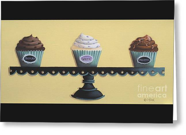 Catherine White Paintings Greeting Cards - Classic Cupcakes Greeting Card by Catherine Holman