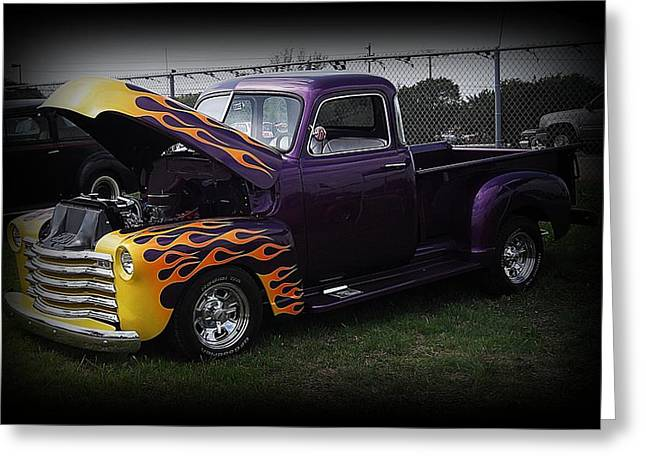 Austin Pyrography Greeting Cards - Classic custom truck Greeting Card by Joshua Burcham