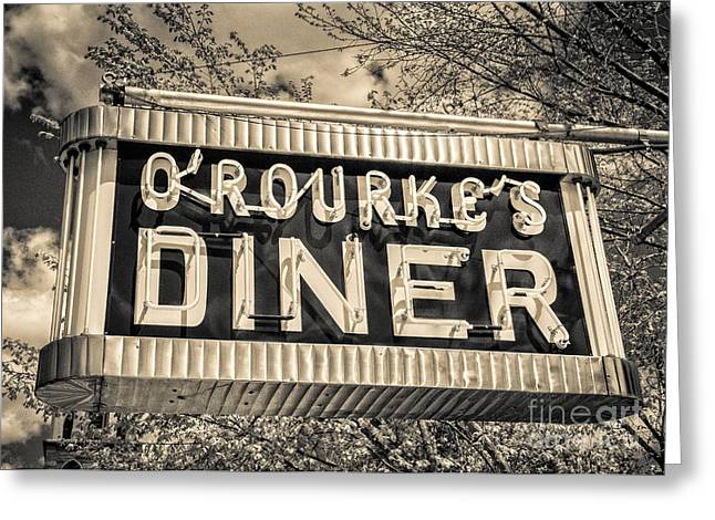 Old Neon Sign Greeting Cards - Classic Diner Neon Sign Middletown Connecticut Greeting Card by Edward Fielding