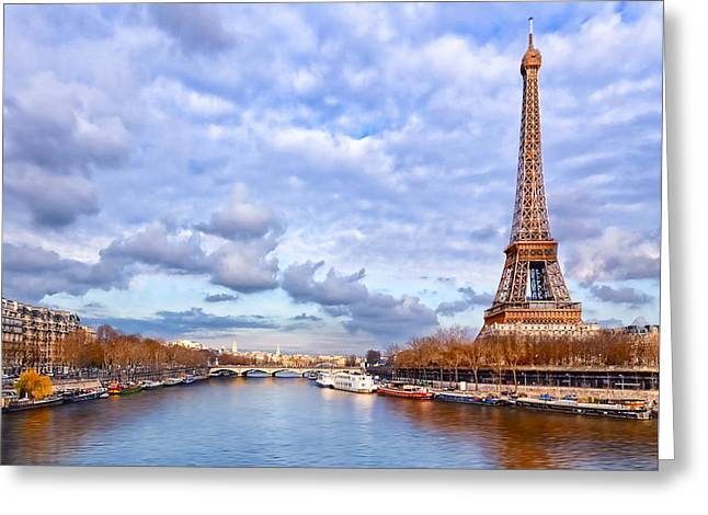 Eiffelturm Greeting Cards - Classic Eiffel Tower View from the Seine Greeting Card by Mark E Tisdale