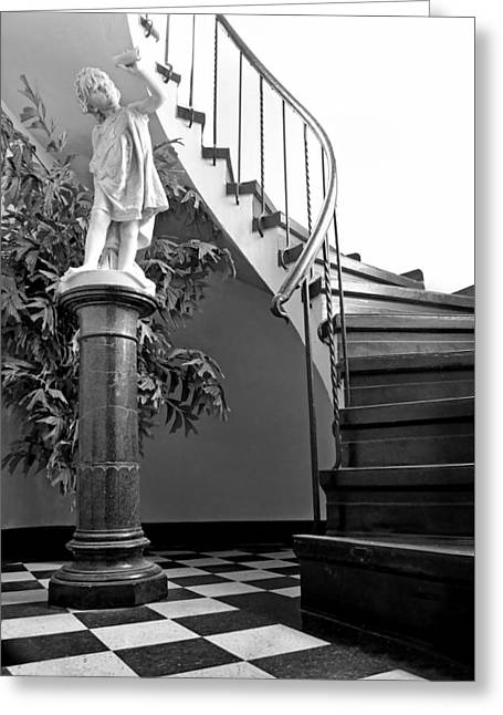 Checkerboard Floor Greeting Cards - Classic Elegance - Spiral Stairs - Checkerboard Floor Greeting Card by Nikolyn McDonald
