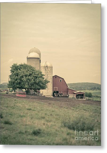 Classic Farm With Red Barn And Silos Greeting Card by Edward Fielding