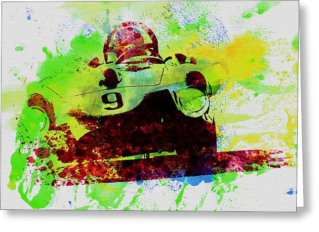 Concept Photographs Greeting Cards - Classic Ferrari on Race track Greeting Card by Naxart Studio