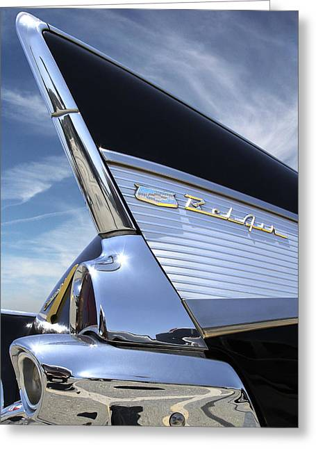 Black Car Greeting Cards - Classic Fin - 57 Chevy Belair Greeting Card by Mike McGlothlen