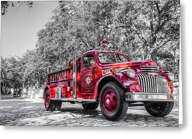 Maltese Photographs Greeting Cards - Classic Fire Engine  Greeting Card by Drew Castelhano