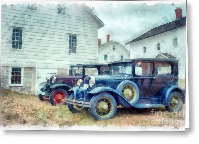 Shakers Greeting Cards - Classic Ford Model A Cars Greeting Card by Edward Fielding