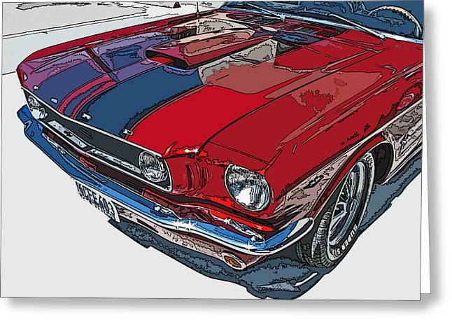 Sheats Greeting Cards - Classic Ford Mustang Nose Study Greeting Card by Samuel Sheats