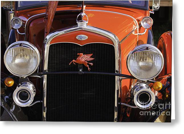 Classic Ford Police Car Automobile Grill In Red Color 3012.02 Greeting Card by M K  Miller